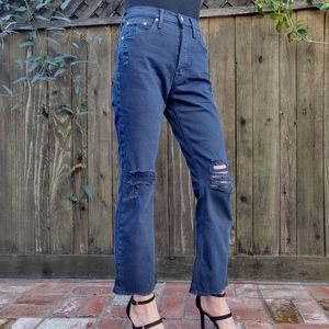 MOTHER Superior The Tripper Button Fly Navy Jeans